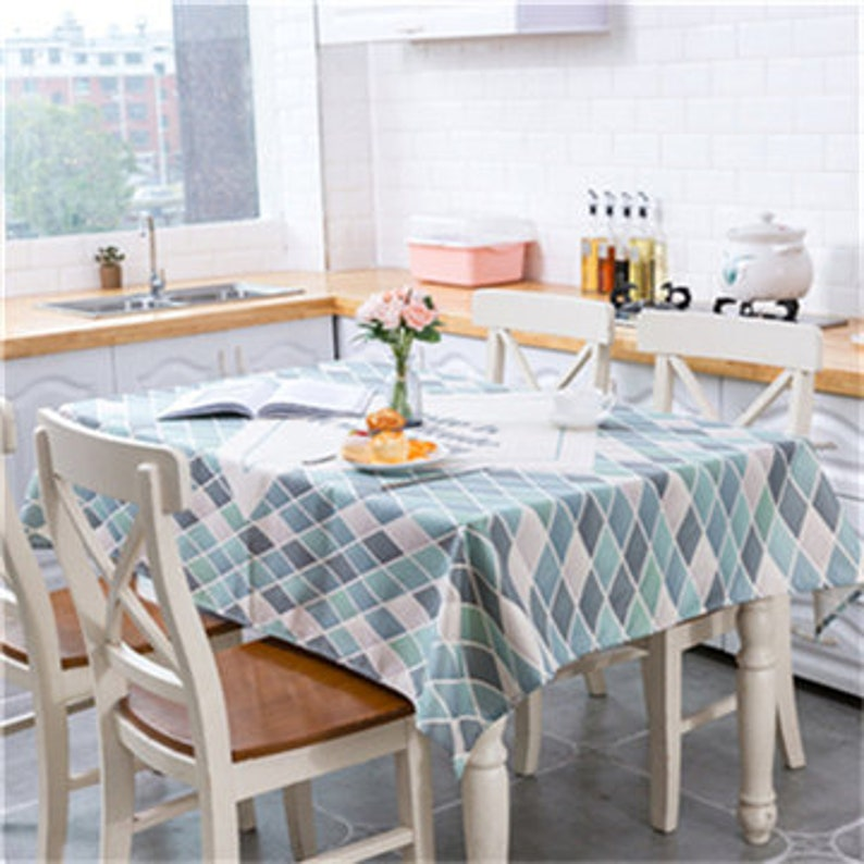 Color Geometry Printing Decorative Table Cloth Waterproof Tablecloth Rectangular Dining Table Cover Table Cloths For Kitchen