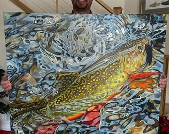 Glimmering Brookie 33x 34.5 Limited Framed Canvas