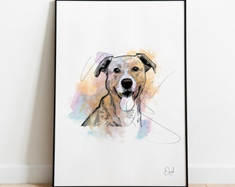Items similar to Whimsical wall art sad dog Original monotype print