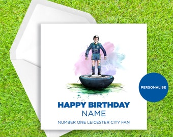 Him//Her Football Fan LCFC Personalised Handmade Leicester City Birthday Card