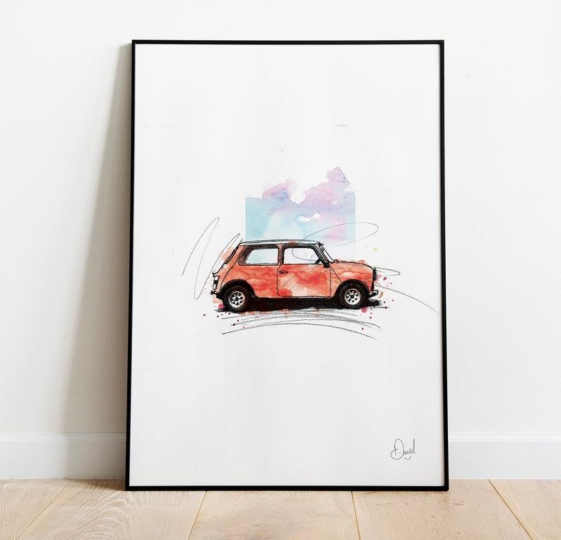 Mini Rouge Klassiker Auto Kunstdruck Illustration Etsy