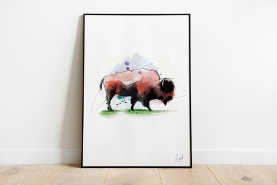 American Bison Watercolor Print Portrait Orientation Western Art Animal Painting Buffalo Ranch