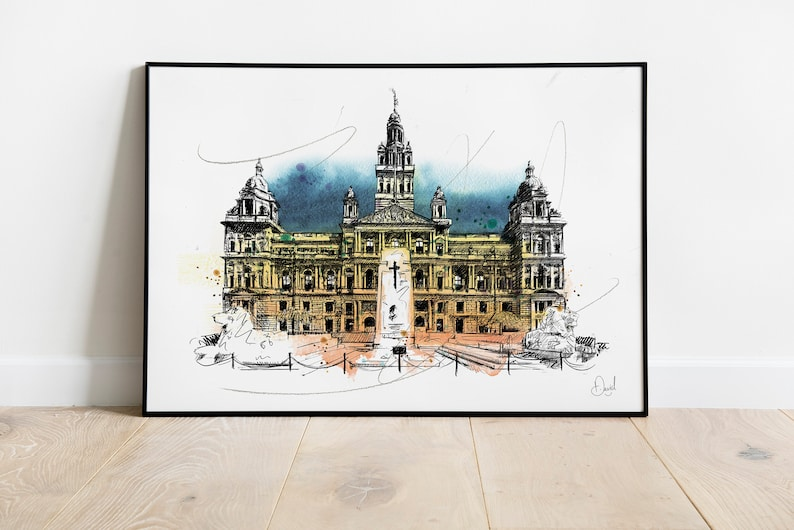 Hydro The Armadillo SEC Watercolour Art City Chambers Birmingham Set Of Three Glasgow Art Prints