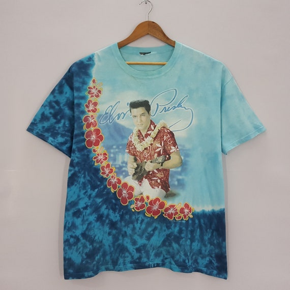 Cotton Casual Hawaiian Aloh 1999 Vintage Single Stitch Elvis Presley Graceland Embroidered USA Blue Hawaii