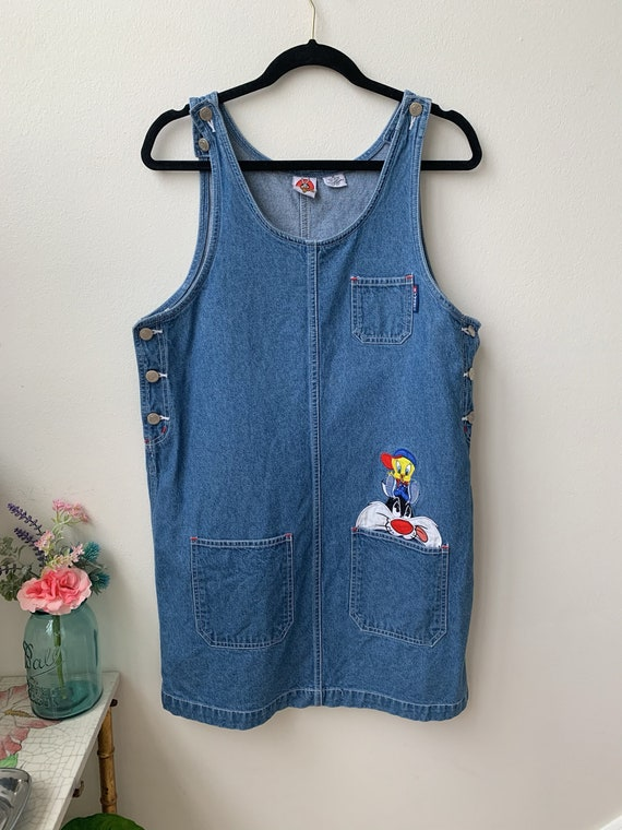VINTAGE Looney Tunes denim apron dress - image 2