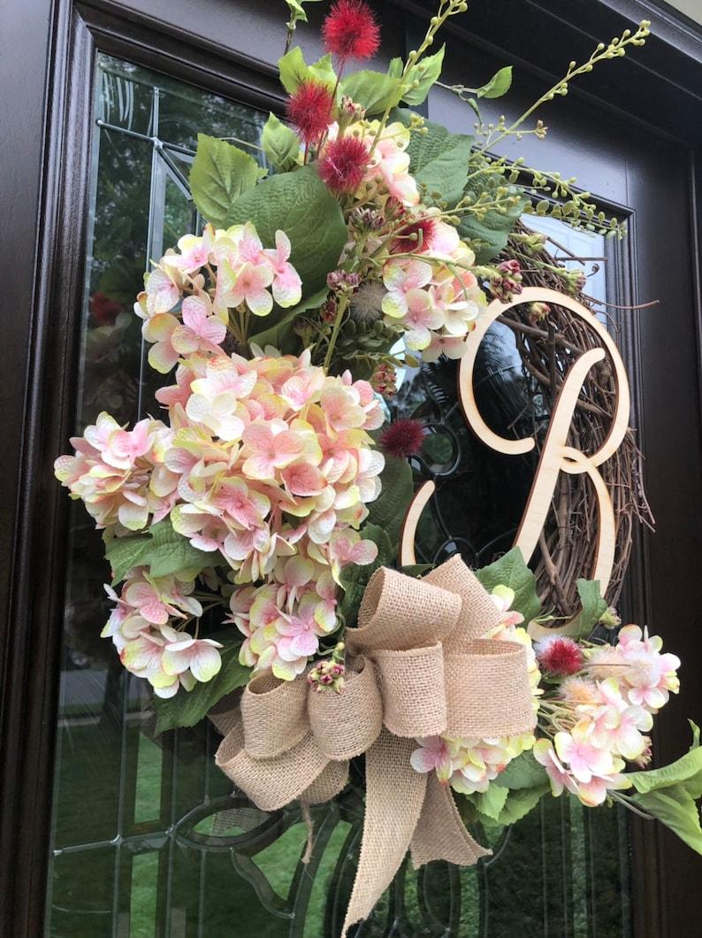 Pink /& Cream Hydrangea Wreath with BurgundyCream Floral Accents