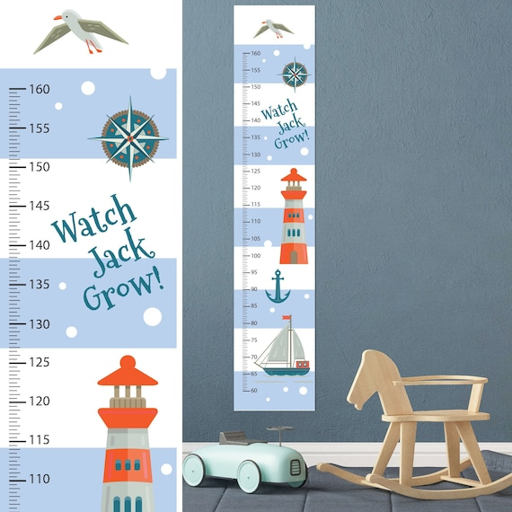 Nautical Boat Growth Chart Wall Decal Kids Room Growth Chart Etsy