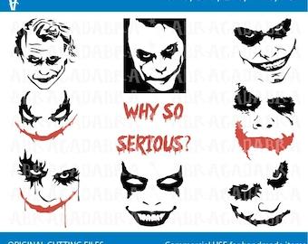 21b236f7a Joker, Joker svg, cut files, Why so Serious svg, Joker cricut files, Joker  silhouette, Joker clipart files, svg, dxf, eps, png, Joker Face