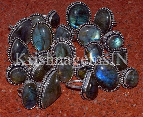 AAA 20 PCs Lot Mix Shape US Size 6,7,8,9,10,11 Multi Fire Natural Rainbow Moonstone Gemstone 925 Sterling Silver Plated Ring Jewelry