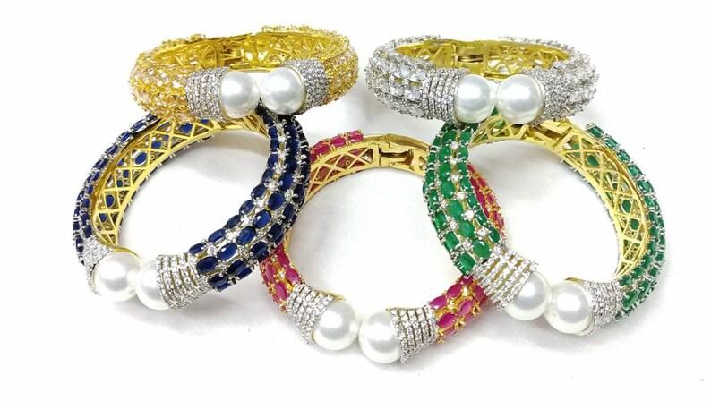 24K Gold Plated Bollywood Jewelry Green Onyx Red Aventurine Multi Pearl Bracelet Indian Jewelry CZ Gemstone Cuff Bangle Bracelet