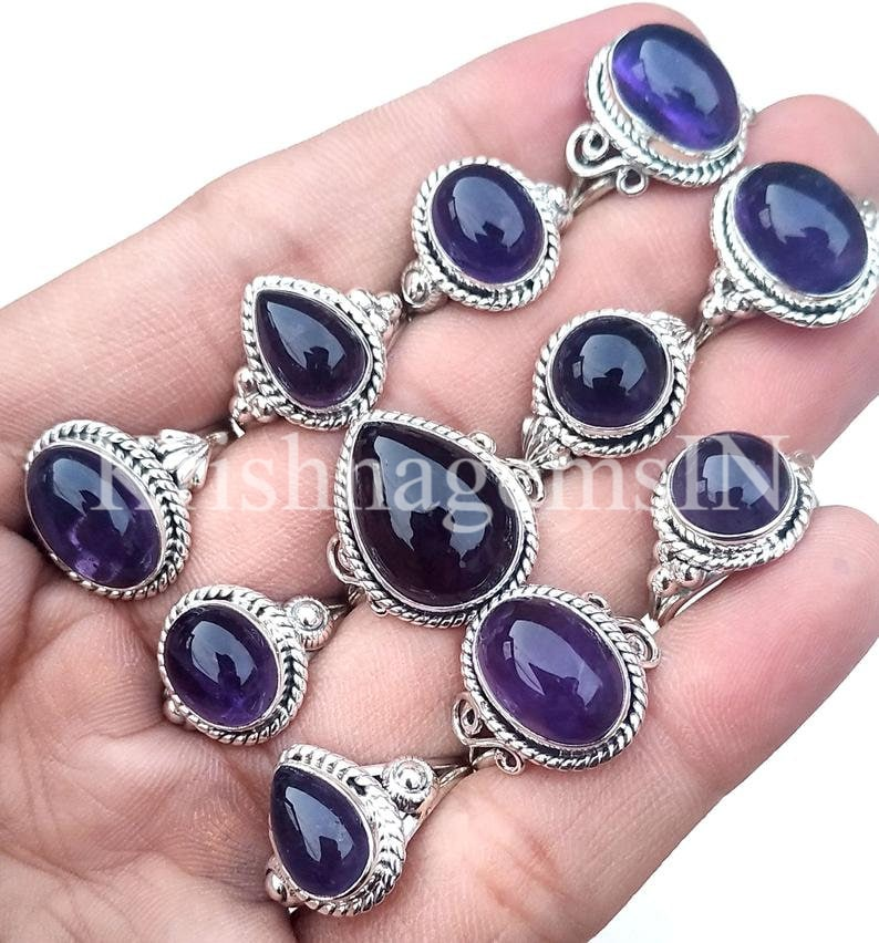 US Size Mix Natural Amethyst Gemstone Natural Jewelry 925 Sterling Silver Plated Rings Best Offer ! Purple Amethyst Lot Mix Shape