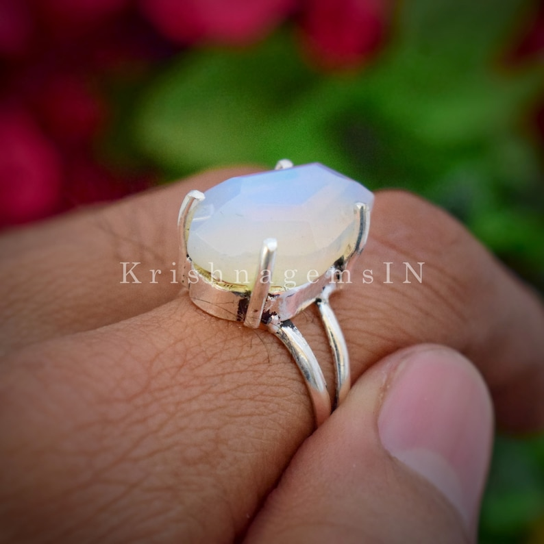 Aqua Opalite Coffin Ring Promise Ring 925 Sterling Silver Ring Daughter Gift Ring Coffin Shape Ring Opal Ring