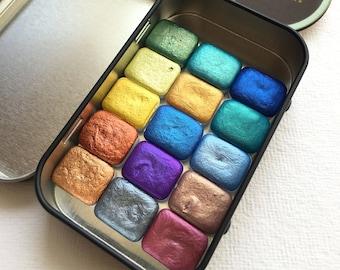 Handmade Watercolor Paints Set, Mica / Metallic Watercolors - Make Your Own (MYO) Set - Quarter Pans