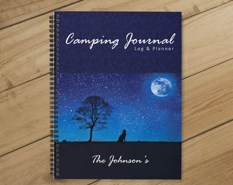 7678a1be2 RV Log & Camping Journal (Blue Moon) (Camping Planner) - Personalize with  Name