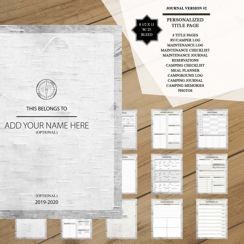photo about Rv Camping Checklist Printable known as Tenting Planner - RV Log Tenting Magazine - (Wooden Swirl) Printable PDF - Customized Identify Site - Tenting List (Planner Variation #2)