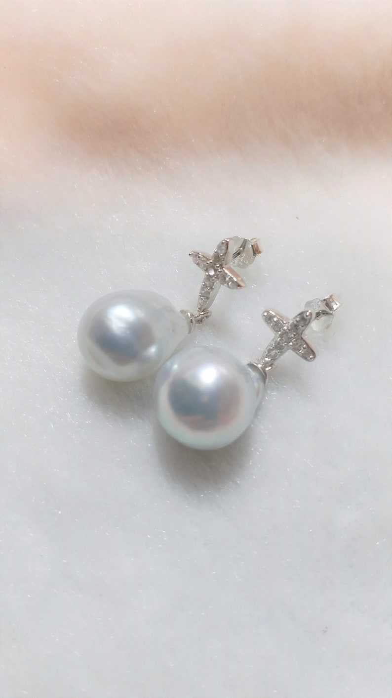 Handcrafted sterling silver stud earring white south sea water pearl earring with silver cross birthday gift-P378