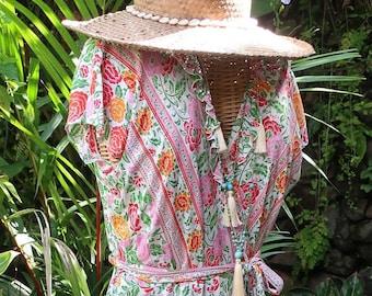 Cupcake Wrap Floral Dress, long summer dress, bohemian style, resort wear