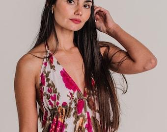White Floral Boho Cotton Maxi Summer Dress, Sexy Long Summer Dress, Maxi Dress, women's dress, resort wear, long halter dress, *IBIZA DRESS