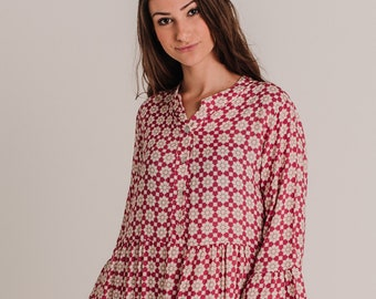 Long Pink Floral Autumn Spring Print Dress , Bohemian Dress with loose sleeves
