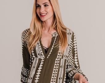 Long Brown Tribal Print Dress , Bohemian Dress with loose sleevees