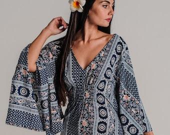 Navy Long Boho Summer Dress, Women Resort Vacation Beach Dress, Long Ethnic Loose Hippie Wide Sleeves Dress, Resort Wear *BELIZE DRESS *