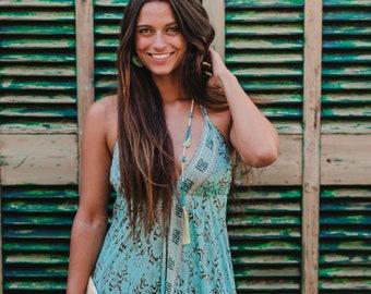 Turquoise Blue Silk Boho Maxi Summer Dress, Sexy Long Summer Dress, Maxi Dress, women's dress, resort wear, long halter dress, *IBIZA DRESS