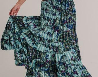 Green skirt Dress, Summer Dress, long skirt, 2 in 1 dress, boho long skirt, bohemian dress , strapless dress , floral mid dress KAUAI SKIRT