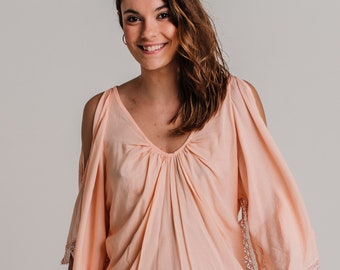 Peach Love short summer dress with open shoulder sleeves , beach cover up , bohemian style