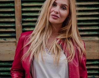 Cherry Leather Bohemian Jacket