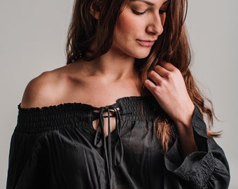 Black Long Sleeve Cotton, off the shoulders BIANCA TUNIC Top, beach cover up, summer tunic.