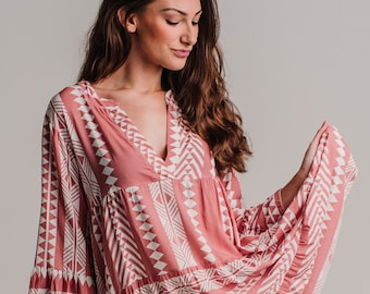 The perfect spring autumn short dress, boho style, short rose pale dress with loose sleeves