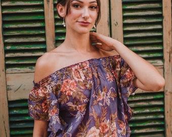 Purple Over the shoulder cotton tunic , Summer Dress , boho , short dress ,beach cover up, cute dress, vacation dress Mila Tunic