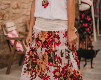 That Perfect Floral Cotton Summer Long Skirt , gypsy, boho, comfortable style