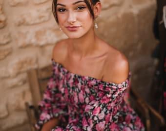 TULUM DRESS - Summer dress , long sleeve, resort wear, boho dress, cotton short dress