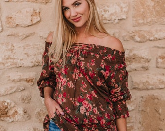 Brown Floral Long Sleeve Cotton, off the shoulders BIANCA TOP tunic, beach cover up, resort wear