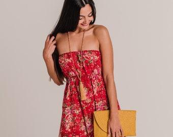 REISI Red Cream Floral, Cotton Boho Maxi Summer Dress, Sexy Long, Maxi Dress, women's dress, resort wear, bridesmaid ,Strapless