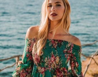 Short summer dress, long sleeves short dress, resort wear, boho dress, baloon short dress, cotton short dress TULUM FLORAL DRESS