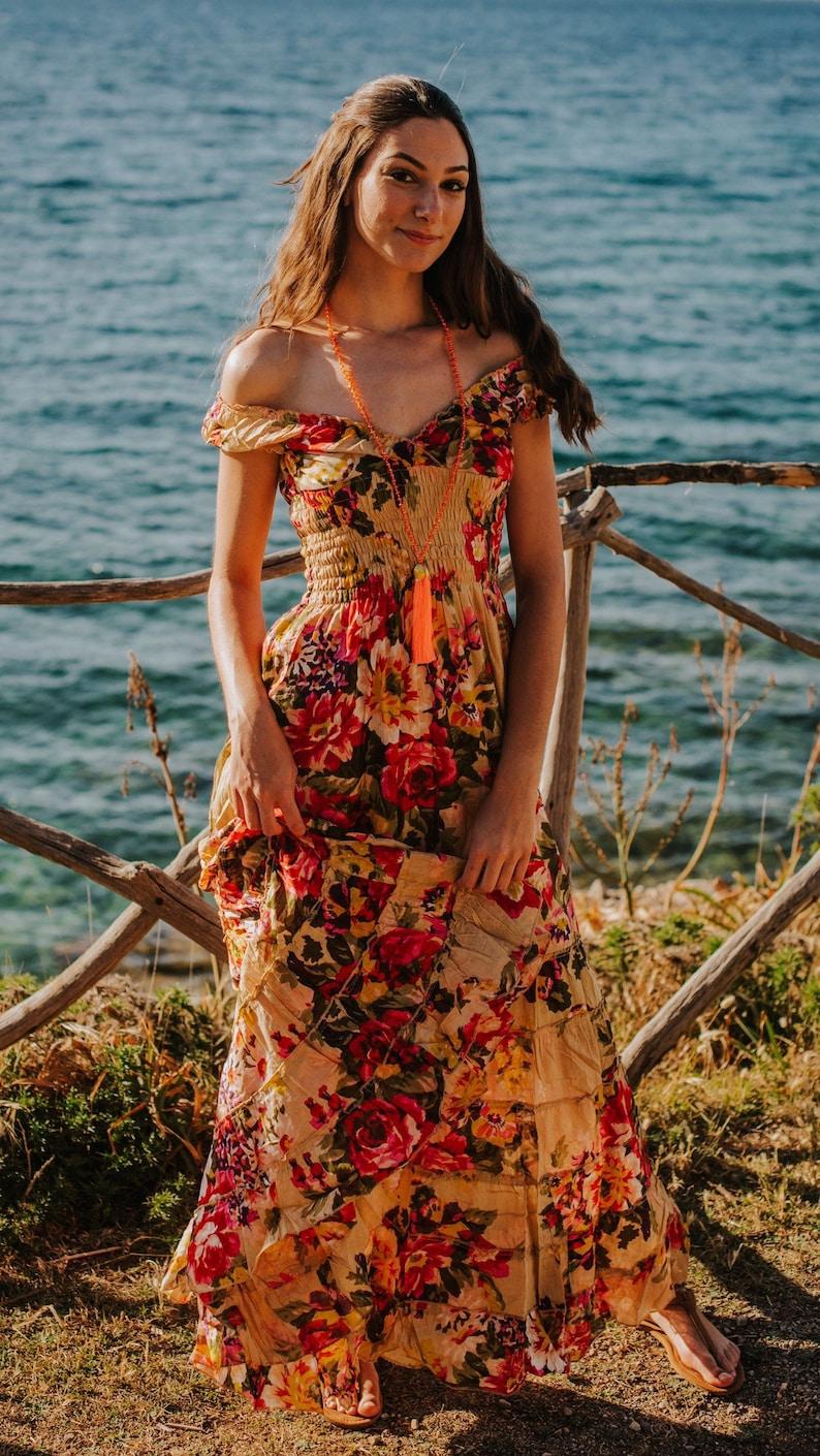 Beige Boho Cotton Floral Long Maxi Summer Dress romantic long image 0