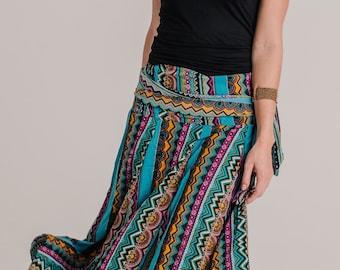 African Blue Skirt Dress, Summer Dress, long skirt, 2 in 1 dress, boho long skirt, bohemian dress , strapless dress , mid dress  SKIRT