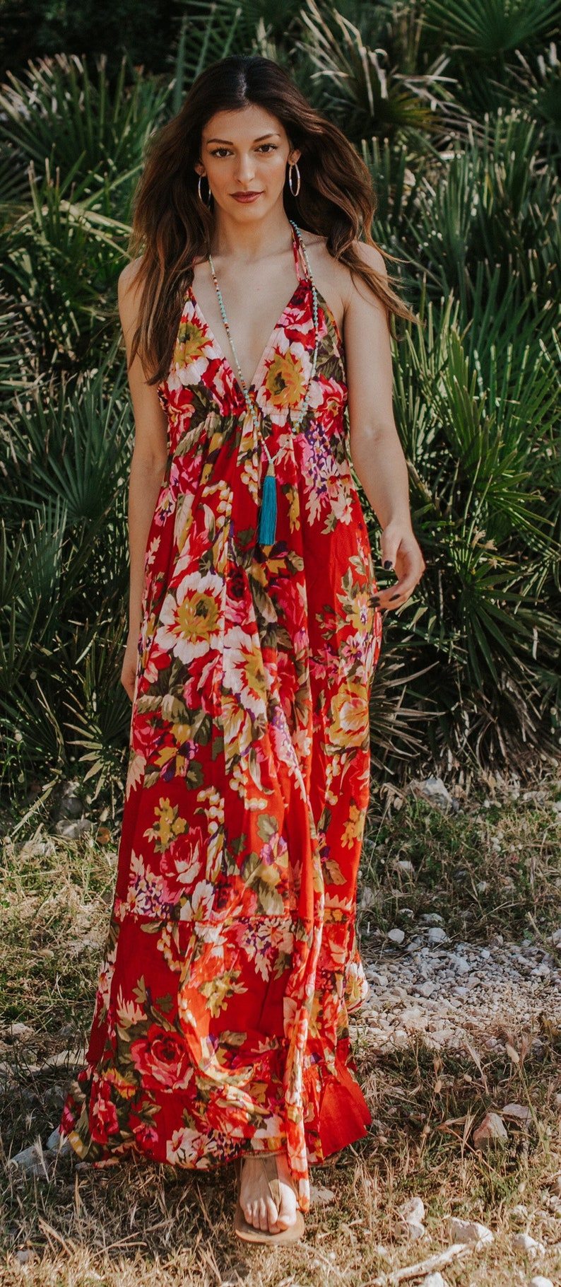 Red Floral Boho Cotton Maxi Summer Dress Sexy Long Summer image 0