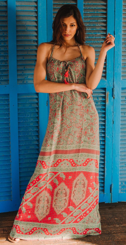 Maxi Summer Dress Bohemian Long Summer Dress Silky Maxi image 0
