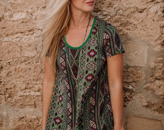 Green Sofia Shirt Dress summer short dress, beach cover up, bohemian style, resort wear,