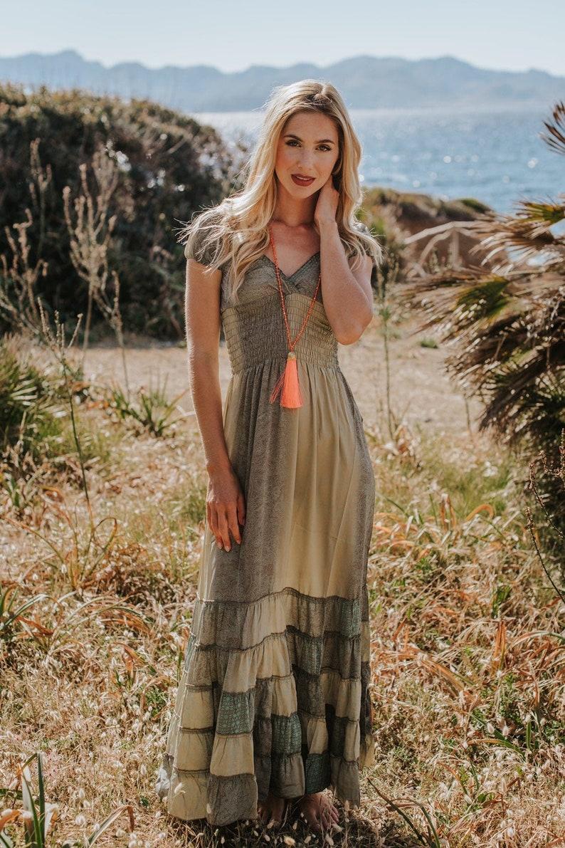 Sea Green Boho Silk Maxi Summer Dress Romantic Long Dress for image 0