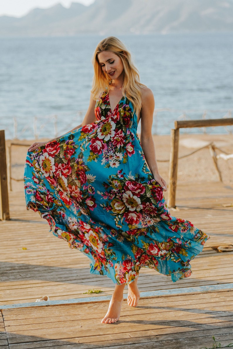 Turquoise Floral Boho Cotton Maxi Summer Dress Sexy Long image 0