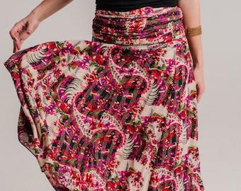 Gorgeous Skirt Dress, Summer Dress, long skirt, 2 in 1 dress, boho long skirt, bohemian dress , strapless dress , mid dress  SKIRT