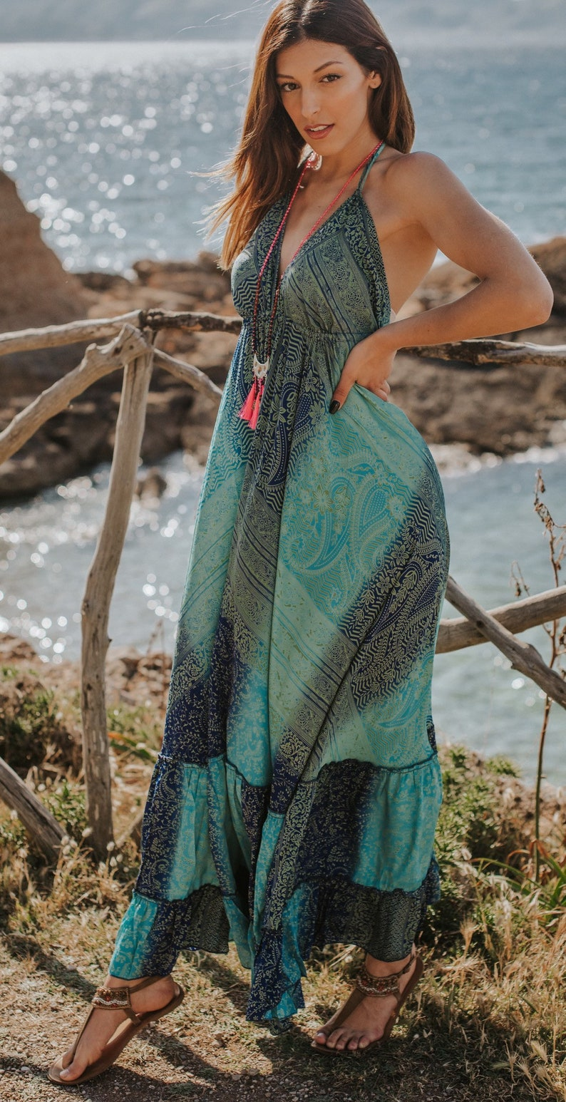 Turquoise Blue Boho Maxi Summer Dress Sexy Long Summer Dress image 0