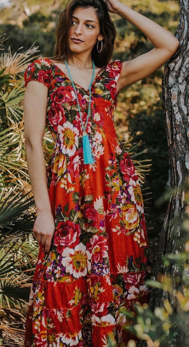 Orange Boho Cotton Floral Long Maxi Summer Dress romantic image 0