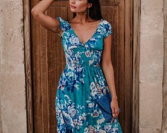 Turquoise Blue Mid Dress , Summer Dress , boho, cotton , short dress ,beach dress, cute dress, tunic dress, vacation dress, RIO DRESS