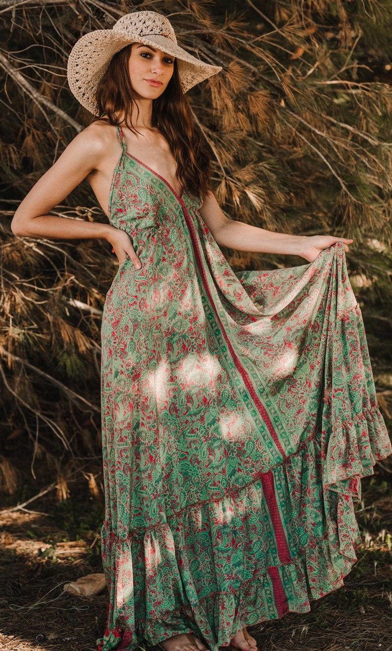 Boho Maxi Summer Silk Dress Sexy Long Summer Dress Silk Maxi image 0