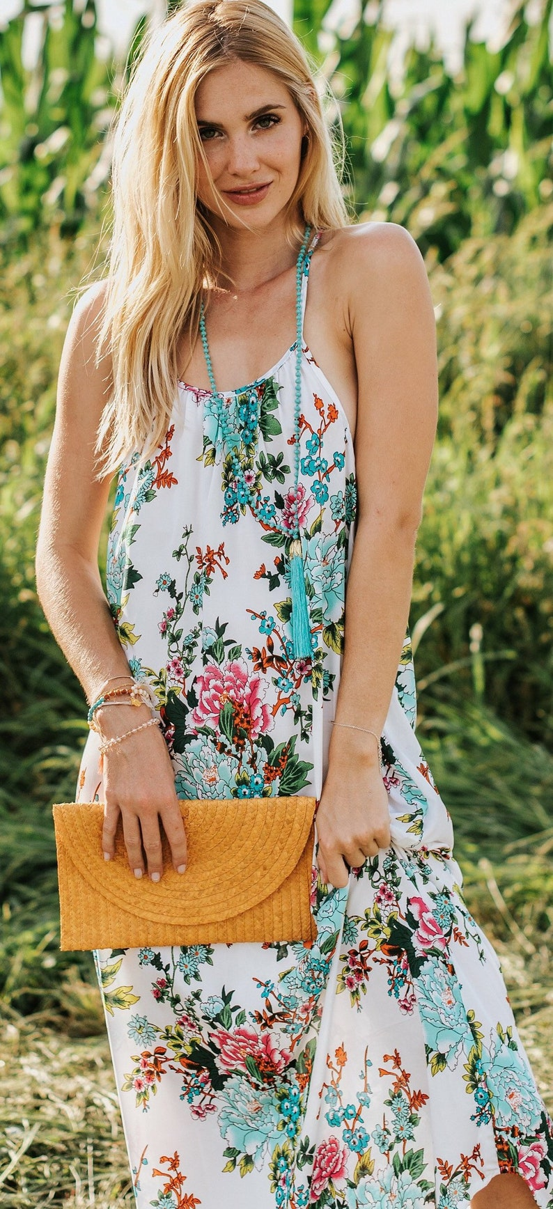White Floral Maxi Dress Summer Dress Bohemian Long Dress image 0